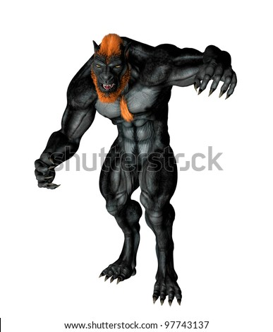 Lycan Werewolf posed for attack. Standing tall claws at ready hunched over in evil snarl. Isolated on white background.