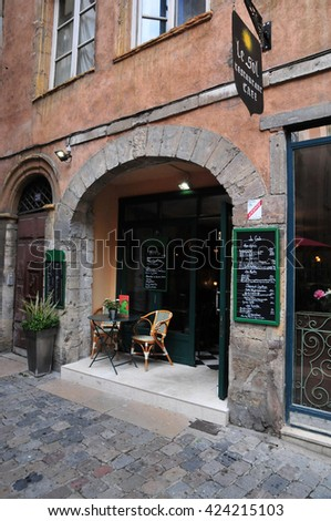 Lyon, France - april 13 2016: restaurant in the picturesque saint Jean district in the old historical Lyon