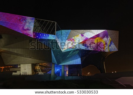 LYON, FRANCE, December 9, 2016 : Show on the new Musee des Confluences. The Festival of Lights expresses gratitude toward Mother Mary around December 8th with different light shows each year.