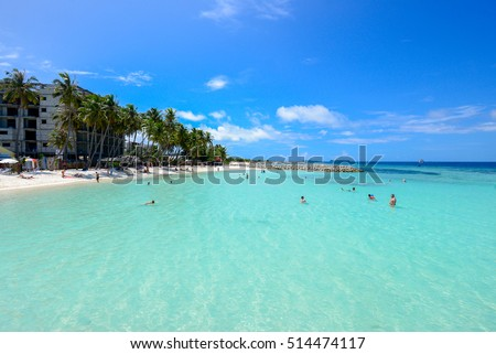 Maafushi Island, Maldives - November 2, 2016: View of beautiful beach with crystal clear water in the beach in Maafushi Island, Maldives.