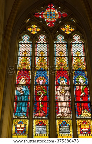 MAASTRICHT, NETHERLANDS - JANUARY 16, 2016: Stained glass windows of Basilica of Saint Servatius, the oldest church in the Netherlands.