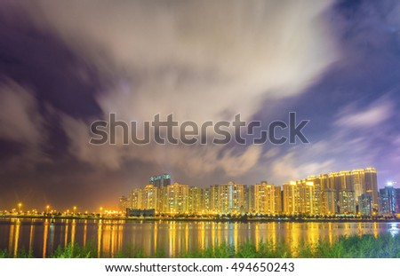 Macao architecture of night