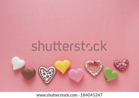 Macaroon cookies and heart-shaped