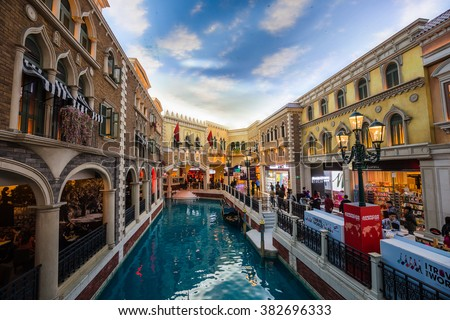 MACAU, CHINA - FEBRUARY 22, 2016: The Venetian Macau interior view. Macau is the gambling capital of Asia.