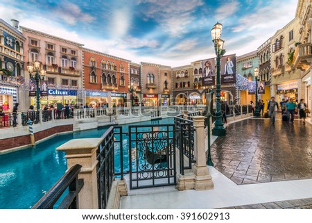 MACAU,CHINA - NOV 23:The Venetian Macao-Resort-Hotel mall on Nov 23, 2015 in Macau. This is a major tourist attraction in Macau.