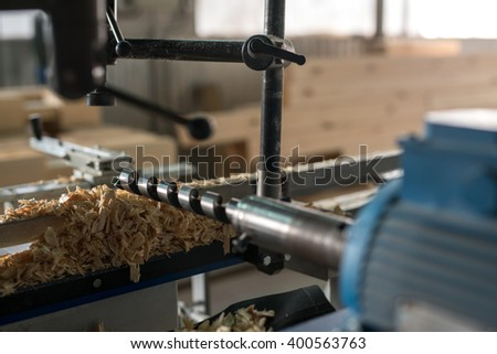 Machine tool with drill for woodworking, close-up