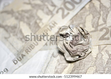 macro close up crumpled rupiah indonesia money