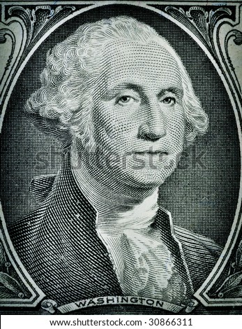 Macro close-up of Washington's Face on a one dollar bill