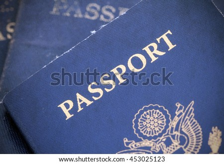 Macro of  US passports