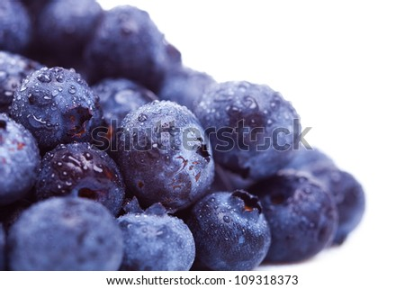 macro picture of a pile of fresh  blueberry fruits with water drops on them