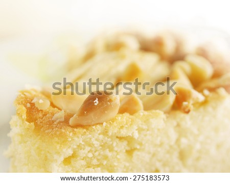 Macro shot of apple pie with almonds