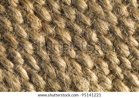 Macro shot of jute webbing, suitable for textured background.