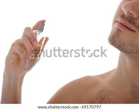 macro shot young male spray perfume on his skin. isolated on white background
