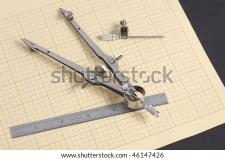 Macro View Mechanical Drafting Compass Decimal Stock Photo ...
