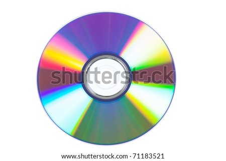Macro view of optical disk with colorful reflections