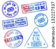 Made in the UK. Rubber stamp illustrations - stock photo