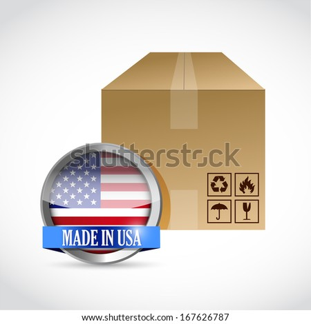 made in usa box illustration design over a white background