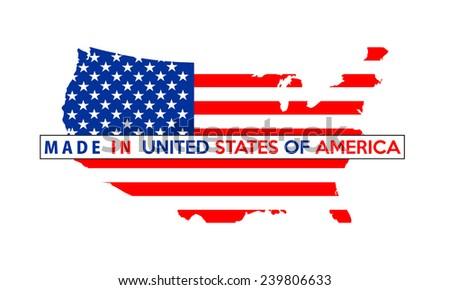 Made Usa Country National Flag Map Stock Illustration - Usa map shape