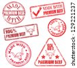 Made with premium beef. Rubber stamp illustrations  - stock vector