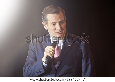 MADISON, WI/USA - March 30, 2016: Republican presidential candidate Ted Cruz speaks to a group of supporters during a rally before the Wisconsin presidential primary in Madison, Wisconsin.