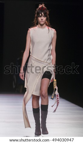 MADRID - FEBRUARY 20: a model walks on the Mane Mane catwalk during the Mercedes-Benz Fashion Week Madrid Fall/Winter 2016 runway on February 20, 2016 in Madrid.
