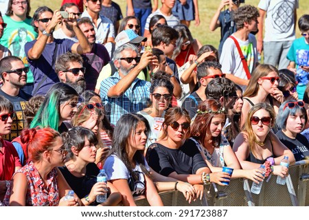 MADRID - SEP 13: Crowd in a concert at Dcode Festival on September 13, 2014 in Madrid, Spain.
