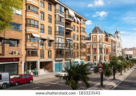 MADRID, SPAIN - MAR 23, 2014: Architecture of Madrid, Spain. Madrid is the second most touristic city in Spain