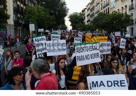 MADRID, SPAIN - 28 September, 2016: People holding placards claiming for a legal, free and safe abortion.