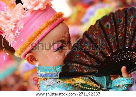 MAEHONGSON, THAILAND-APRIL 04: Poy Sang Long Ethnic buddhist ordination festival, during in parade around township on April 04, 2015 in Mae Hong Son Province, Thailand.Thailand.Unidentified