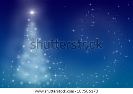Magic fairytale Christmas night. Twinkling stars on a blue sky