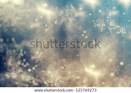 Magic holiday abstract glitter background with blinking stars and falling snowflakes. Blurred bokeh of Christmas lights.