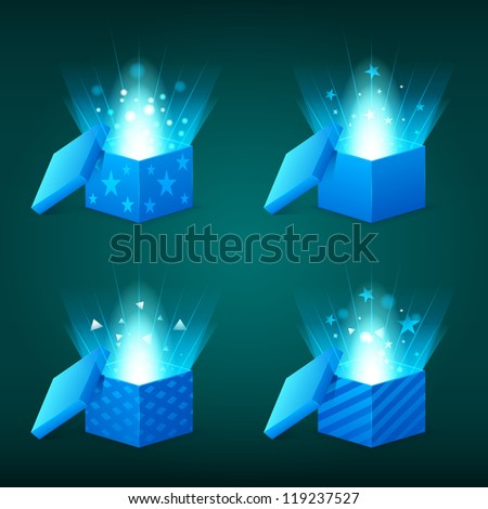 Magical light coming out of the blue gift boxes