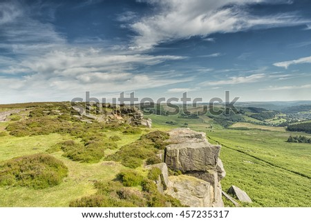 Magnificent landscape of rock formations and moorland at Stanage Edge in the Peak District in Derbyshire, a stunning area of great natural beauty covering 555 square miles across central England