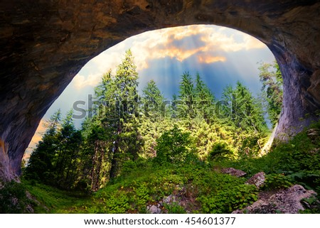 "Magnificent landscape of the natural stone arches or ""wonder bridges"" in the Rhodopi Mountains, Bulgaria, sunset time"