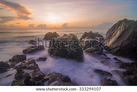 Magnificent long exposure sea sunset. Soft Focus due to Long Exposure