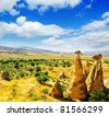 Magnificent rock landscape. Cappadocia, Turkey. - stock photo