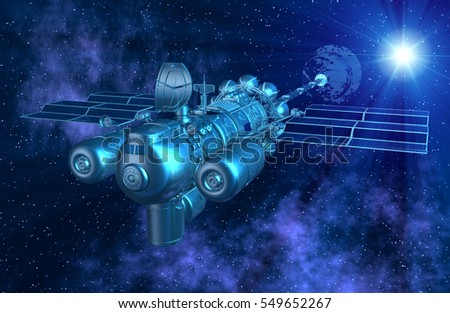 Magnificent Starry Space Sci-fi 3d illustration with a Spaceship