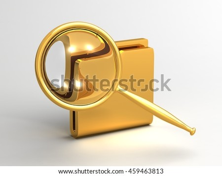 Magnifier folder file search 3D illustration