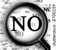 "Magnifier with closeup of ""no"" - stock photo"