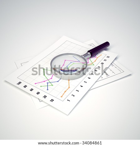 Magnifying Glass and Charts. Ready to use illustration. Business and finance.