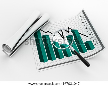 magnifying glass and statistics