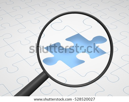 Magnifying glass emphasizing gap in puzzle. 3d render.