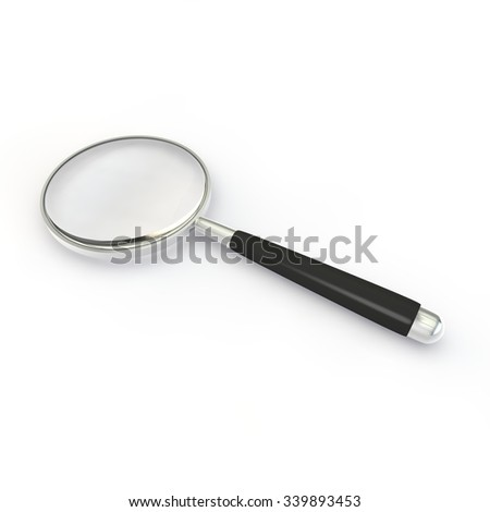 Magnifying glass in a metal frame with rubber black handle isolated on white background