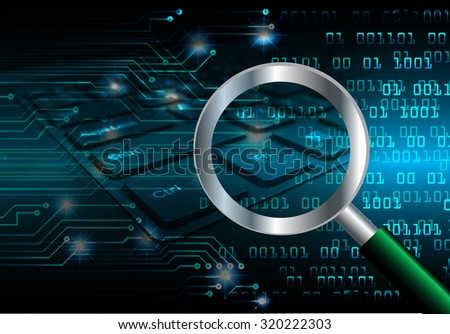 Magnifying Glass scanning and identifying a computer virus. Antivirus protection and computer security concept.