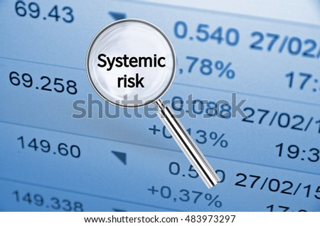 Magnifying lens over background with text Systemic risk, with the financial data visible in the background. 3D rendering.