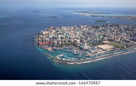 Main Capital of Maldives, Male. Picture taken from air.