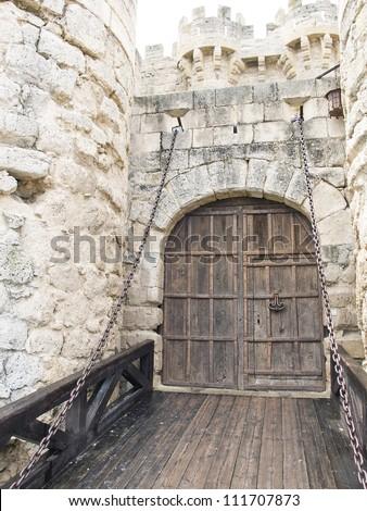 Main Entrance Drawbridge Castle Ampudia Palencia Stock