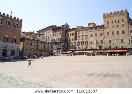 Main square of the ancient Italian city of Siena