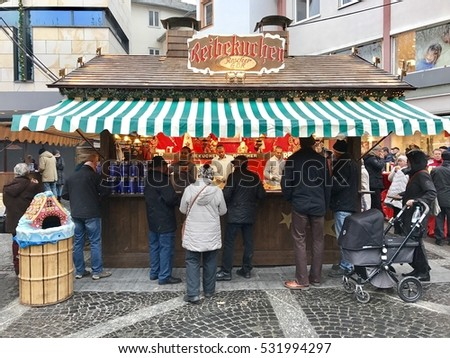 MAINZ - DECEMBER 7: A food stall at the Christmas Market in the Old Town on December 7, 2016 in Mainz, Frankfurt, Germany.
