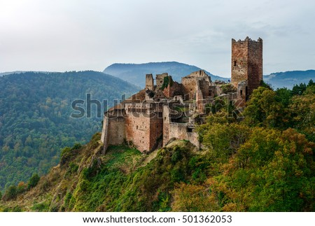 Majestic medieval castle  Saint-Ulrich on the top of the hill, Alsace, France